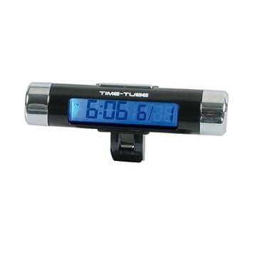 86321 - Mini digital Reloj del coche y calendario Azul LCD luz de fondo clip de montaje: Amazon.es: Coche y moto