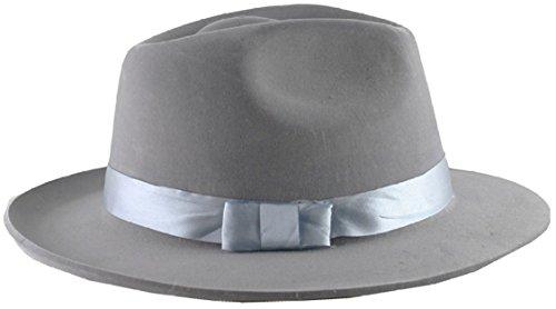 Forum Novelties 58500 Flocked Gangster Hat, Grey