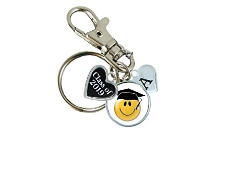 Price comparison product image Custom Class of 2019 Graduation Smiling Face Emoji Key Chain Choose Initial Gift
