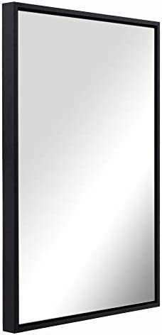 Black Wall Mirror for Bathroom, Wall Mounted Mirror 30x40x2 Inch Thick Rectangle Wooden Frame, Clean Floating Panel Hangs Horizontal or Vertical for Bathroom Vanity Entry