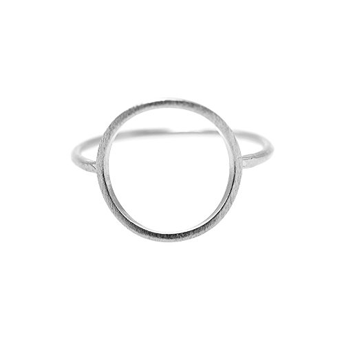 Spinningdaisy Handcrafted Brushed Metal Geometric Cut Out Circle Ring Silver by SpinningDaisy
