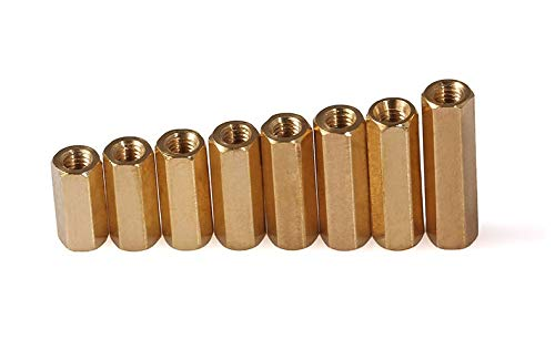 100Pcs M3 Brass Spacer M35//6//7//8//10//11//12//14//15//16//18//20//25//30 Female To Hex Standoff Double Flat Copper Hollow Cylinders 6mm M3