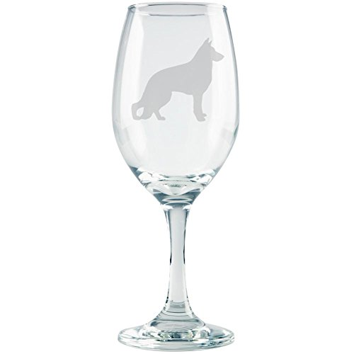 German Shepherd Guard Dog Silhouette Etched White Wine Glass Clear Glass Standard One Size ()