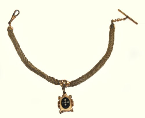 #F13701 Beautiful Victorian Era Antique Hair Braided Watch Chain with Black Onyx Fob by Unknown (Image #2)