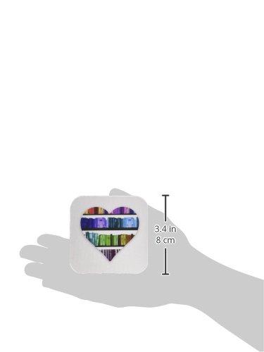 3dRose cst/_184865/_1 I Heart Books-Love Heart Shape Containing Colorful Rainbow Bookshelf-Soft Coasters Set of 4