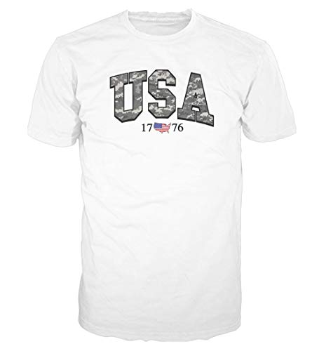 Camo Heart White T-shirt - 5 Star USA America Men's Graphic T-Shirt - American Flag, Patriotic, Vintage, Military, Americana Collection (Regular, Big and Tall Sizes) (White/USA Digital Camo, Medium)