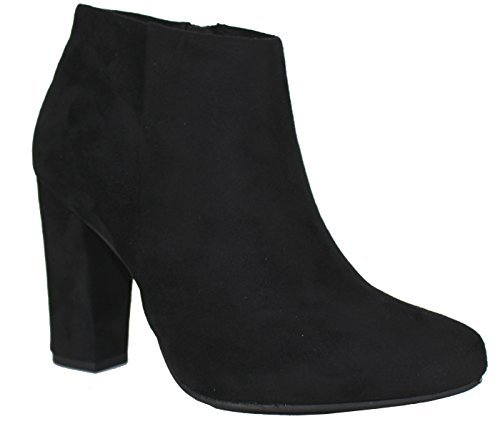 Delicious Women's Kirlia Imitation Suede Chunky Heel Side Zip Ankle Boot Black 8 by Delicious