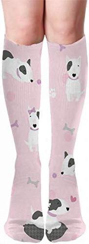 Bullterriers Pink Dogs Thigh High Long Socks Leg Stocking Winter Warmer