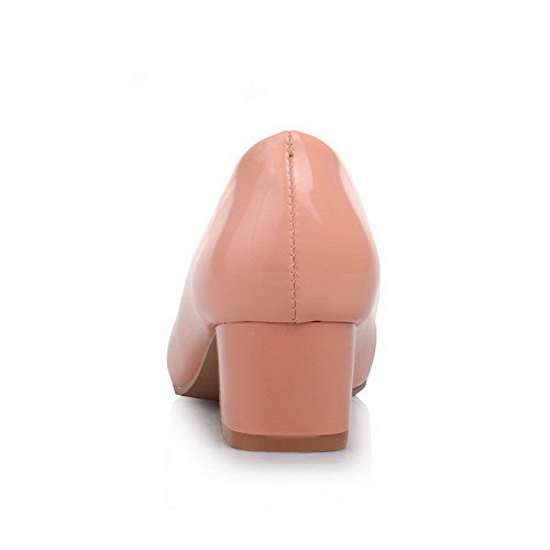 AmoonyFashion Womens Pull-on Kitten Heels PU Solid Round Closed Toe Pumps-Shoes Pink r3C4J4pIdJ