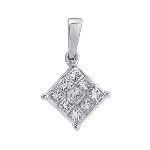 10k White Gold Diamond Square Cluster Pendant (1/3 cttw, H-I Color, I2-I3 Clarity), 18
