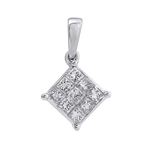 White Pendant Diamond Gold Square - 10k White Gold Diamond Square Cluster Pendant (1/3 cttw, H-I Color, I2-I3 Clarity), 18