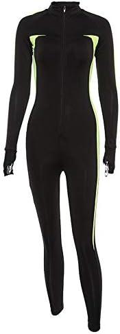 レディースジャージ上下セット 女性のカラーマッチングヨガフィットネスジャンプスーツ (サイズ : S)