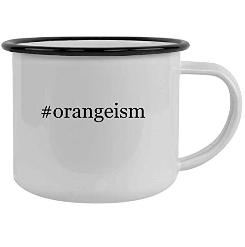 #orangeism - 12oz Hashtag Stainless Steel Camping Mug, Black (Orange Flowers Fl Port)