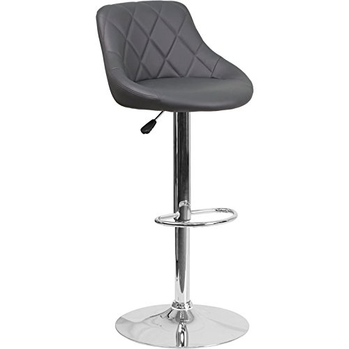 Luxury Home Contemporary Grey Vinyl Bucket Seat Adjustable Height Barstool with Chrome Base by Luxury Home