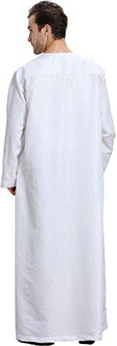 Ababalaya Men's Round Neck Long Sleeve Solid Saudi Arab Thobe Islamic Muslim Dubai Robe,White,XL by Ababalaya (Image #1)