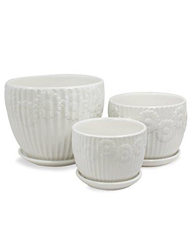 White Floral Pot - Dahlia Textured Daisy White Ceramic Planter/Plant Pot/Flower Pot w. Attached Saucer, Set of 3