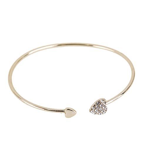 MOONQING Cute Style Peach Heart Bracelet Simple Bracelet Open Bracelet Adjustable Bracelet,Gold