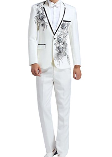 XQS Men Rhinestones Embroidered 2 Piece Set Blazer Suit Jacket As Picture S (Mens Travel Embroidered Set)