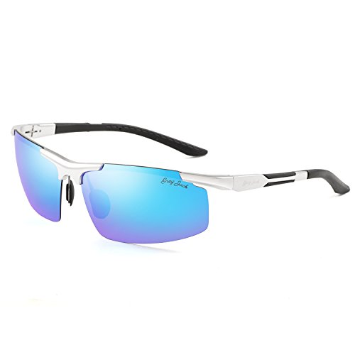 GREY JACK Lightweight Al-Mg Alloy Metal Half-frame Streamlined Polarized Sports Sunglasses Large for men women Silver/Blue -