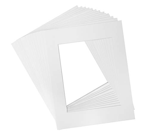 (Golden State Art, Acid Free, Pack of 25, 11x14 White Picture Mats - Fit 8.5x11 Photo/Certificate - High Premier Bevel Pre-Cut White Core Mattes - 25 Single Mats)