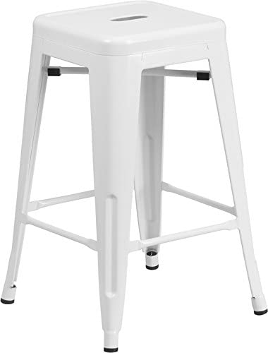 Flash Furniture 24 High Backless White Metal Indoor-Outdoor Counter Height Stool with Square Seat