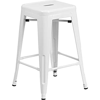 Flash Furniture 24u0027u0027 High Backless White Metal Indoor-Outdoor Counter Height Stool with  sc 1 st  Amazon.com & Amazon.com: Flash Furniture 24u0027u0027 High Backless White Metal Indoor ... islam-shia.org