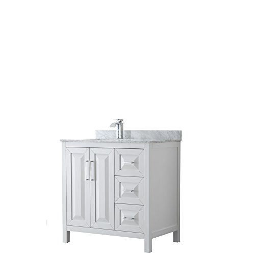 Wyndham Collection Daria 36 inch Single Bathroom Vanity in White, White Carrara Marble Countertop, Undermount Square Sink, and No Mirror ()