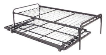 Twin Size Metal Day Bed (Daybed) Frame & Pop up Trundle with Great Firm Mattresses Included Package Deal! (Trundle Bed With Mattresses Included)
