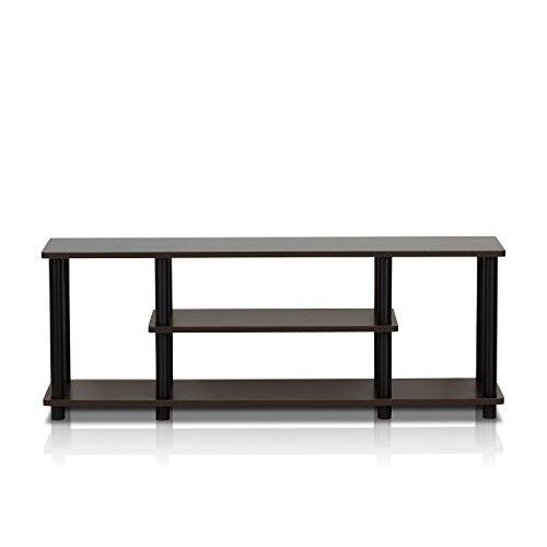 Furinno Turn-N-Tube No Tools 3D 3-Tier Entertainment TV Stands, Dark Brown / Black (Stand Black Tv)