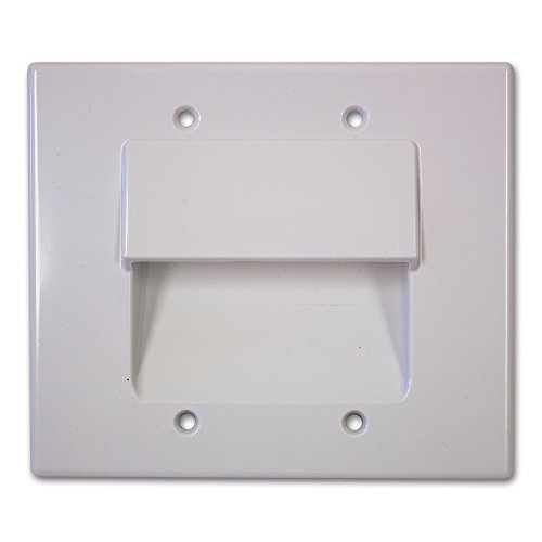 NavePoint 2-Gang Recessed Low Voltage Cable Management Wall Face Plate White ()