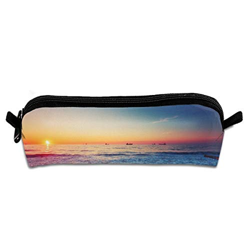 GGlooking Portable Pencil Pouch Beach Sunset Simple Zipper Bag,Pen Case Office School Supplies Organizer Stationery Holders (Art Hat Clip Ball Marker)