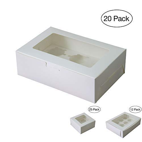 Diamond Bakery Boxes (Pack of 20) for 6 Cupcakes with Display Window White Paper with Insert and Window