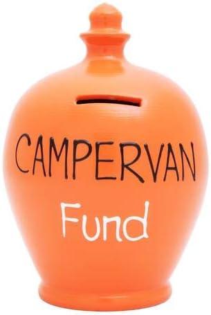 Orange With Campervan Fund In Black /& White S178 Terramundi Pots Terramundi Money Pot