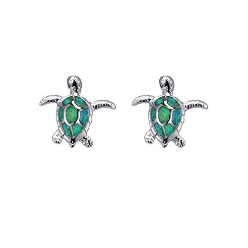 Hermosa Mom Gifts Sea Turtle Blue Opal Women Pendant Necklace Earrings Jewelry Sets (Earrings001-green)