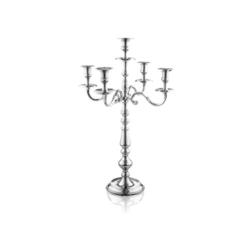 Classic Silver Candelabra - Klikel Traditional 16 Inch Silver 5 Candle Candelabra - Classic Elegant Design - Wedding, Dinner Party And Formal Event Centerpiece - Nickel Plated Aluminum, Mirrored Finish