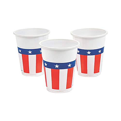 Fun Express - Patriotic Design Disposable Cups(50pc) for Fourth of July - Party Supplies - Drinkware - Disposable Cups - Fourth of July - 50 Pieces