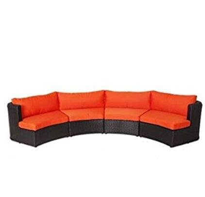Outdoor Patio Furniture Sofa Sectional Wicker Round Resin Couch Set (Orange (T126 Set)
