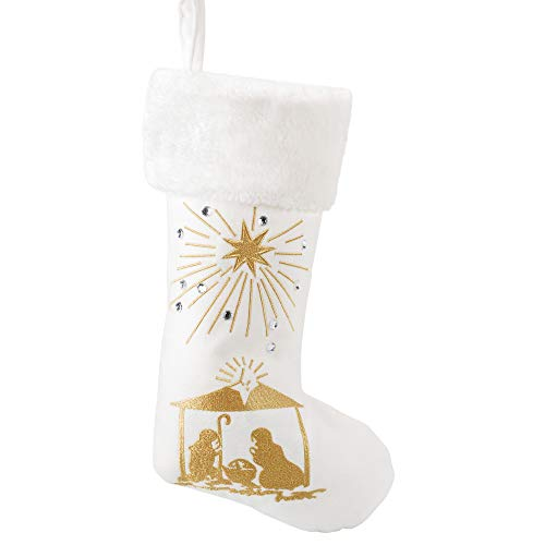 (Seasons Designs 19 inch Glitter Nativity Scene Gold Tone On Cream Fabric Christmas Stocking)
