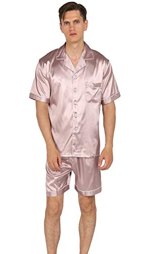 YIMANIE Mens Silk Satin Pajamas Set Short Sleeve and Shorts Classic Sleepwear Loungewear Champagne