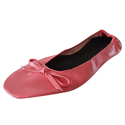 Sherostore ♡ Womens Foldable Ballet Flats Slip-On Ballet Comfort Walking Classic Round Toe Shoes Dance Shoes for Girls Hot Pink