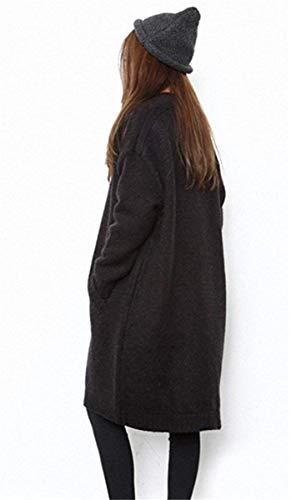 Casual Forcella Outerwear Lunga Autunno Caldo Pullover Cappotto Giacca Maglia Tendenza Aperto Schwarz Fashion Ragazze Invernali Con A Stlie Tasche Grazioso Manica Donna Eleganti HwxzaqA