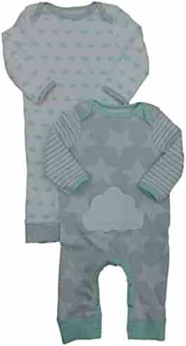 c1855042421d Infant Boys 2PC Footless Sleeper Cotton Pajamas Gray Star & Mint Cloud Set
