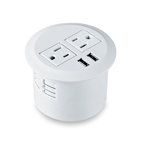 Kungfuking Desktop Power Grommet Data Center 2 Outlet 2 USB Ports (White) by Kungfuking