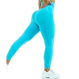 AEEZO Women's High Waist Tummy Control Workout Gym Yoga Pants Smile Contour Seamless Butt Lifting Yoga Leggings Sport Tights