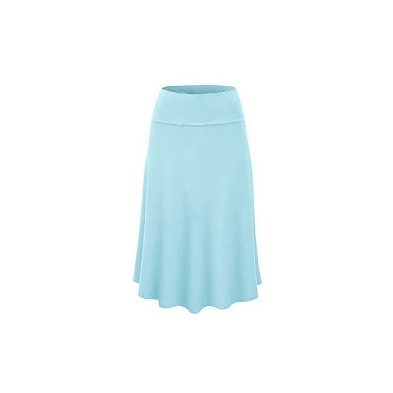 59c88d0dee Lock and Love Women's Solid Ombre Lightweight Flare Midi Pull On Closure  Skirt S-XXXL Plus Size