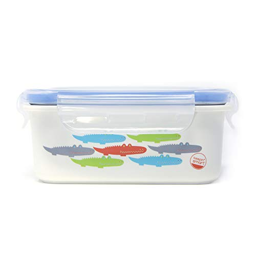Innobaby Keepin' Fresh Stainless Bento Snack or Lunch Box with Lid for Kids and Toddlers 15 oz, BPA Free Food Storage, Blue Alligator