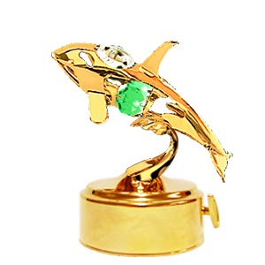 (Gold Plated Orca Whale Music Box w/GreenMixed Colors Swarovski Element Crystal)