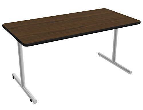 Nomad by Palmer Hamilton ATTGO293060-MWMSPVC Fixed Leg Standard Weight Aero GO T-Base Table with Built in Casters, Metallic Silver Frame, Black PVC, 60