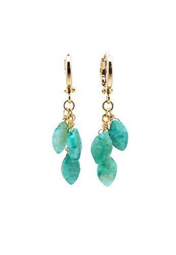 Green Chrysoprase Dangle Cluster Earrings ()