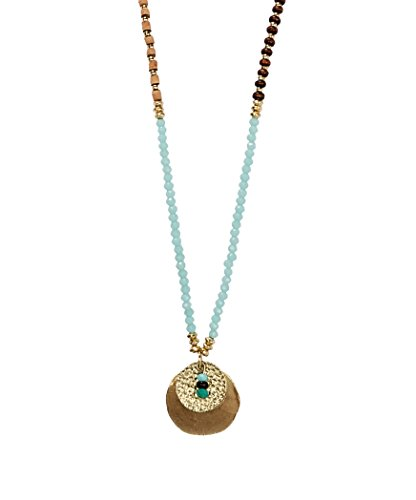 New! Handmade Boho Long Beaded Statement 2 Disc Pendant Necklaces Gold for Women | SPUNKYsoul (Layered Circle Link Necklace)